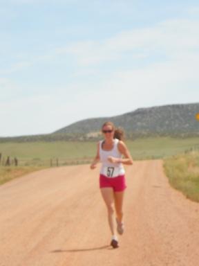 Kinda blurry, but enjoying my run in the Wild West Relay!