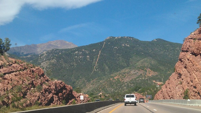 The Manitou Incline, a scar on the side of the mountain. Seen as we drive to get started!!!
