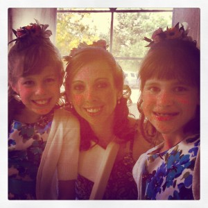 The maid of honor and the flower girls