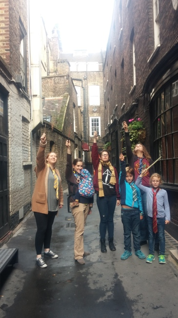 Playing Harry Potter in Nocturn Alley. So, yes, this is Nocturn alley, but in reality it is SUPER skinny. So they rebuilt this ENTRIE alley, only wider, on set.